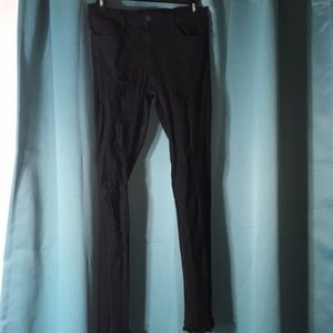 black ribbed stretchy jeans